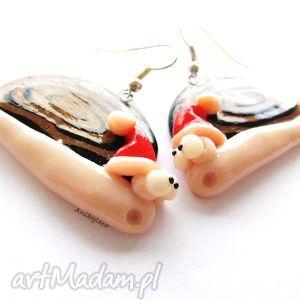 pomysł na upominek KOLCZYKI ślimaki mikołaje, kolczyki, modelina, fimo, ślimak