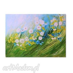 łąka, polne kwiaty, obraz ręcznie malowany, polne, obraz