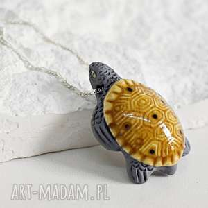 925 ŻÓŁW II łańcuszek z peruwiańskiej ceramiki, żółw, zwierze, srebro, 925, łańc