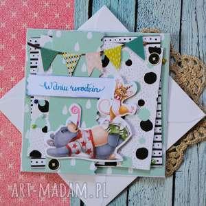 kartka z wesołymi zwierzątkami - w dniu urodzin, kartka, wesoła, urodziny, miś