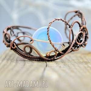 opalove - bransoletka z opalitem, opalit, wire wrapping, na prezent