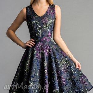 sukienki sukienka gina koło midi tiara, sylwestrowa, midi, tiul, roszkloszowana