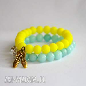 bracelet by sis neonowe korale z baletkami, neon, baletki