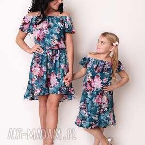 LATORI - Sukienka Damska z kolekcji Mama i Córka dla mamy LM42/1 (Kwiaty)