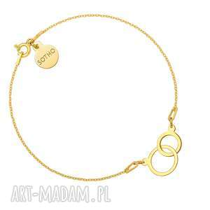 bransoletki złota bransoletka dwa koła, bransoletka, zawieszka, złoto, karma
