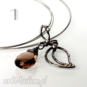 misty ii - srebrny naszyjnik z kwarcem dymnym, delikatny, prezent srebro