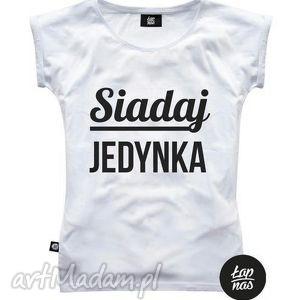 bluzki koszulka siadaj jedynka, prezent, urodziny, tshirt, nadruk, bawełna, oversize