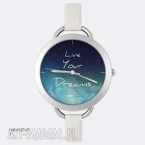 zegarek, bransoletka - live your dreams jasno szary, skórzany