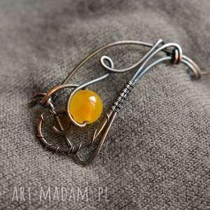 broszki fala - broszka z agatem żółtym, do szala, miedzi