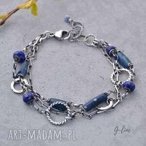 szkło antyczne i lapis lazuli granatowa bransoletka, srebrna
