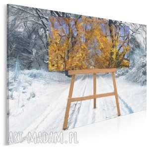 obraz na płótnie - sztaluga zima 120x80 cm 33301, sztaluga