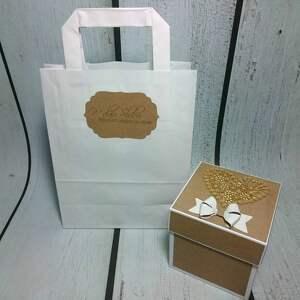 Minimalistyczny Eko Exploding Box, pudełeczko, ślub, wesele, telegram, para