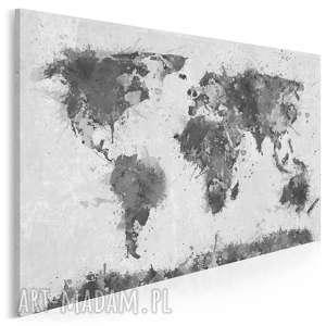 dom obraz na płótnie - mapa czarno-biały 120x80 cm 06304
