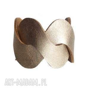 ręcznie robione bransoleta skórzana złota waves