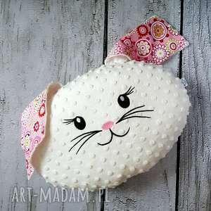Białty królik poduszka haftem z uszami dla dziecka, królik,