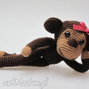 asiek1 małpka dziewczynka, małpka, maskotka, szydełkowa, przytulanka, oryginalny