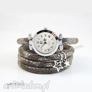 zegarek, bransoletka - gwiazdka - owijany - zegarek, gwiazdka, owijany, rzemień, retro