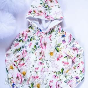 kwiatowa bluza kangurka z kapturem 98-116, dziecięca