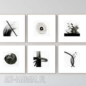 zestaw 6 grafik 13x13 cm wykonanych ręcznie, abstrakcja, elegancki minimalizm