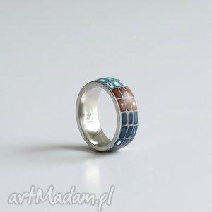 Foffaa: brązowo-niebieska obrączka, obrączki, pierścionki ombre, geometryczne stal