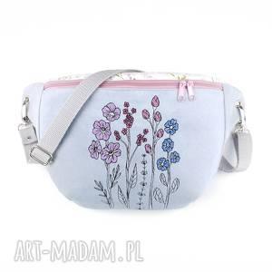 nerka xxl kwiaty - ,nerka,haft,kwiaty,pastelowa,torebka,