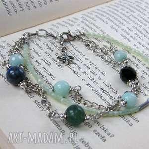 niebiesko-zielona bransoletka z onyksem, regulowana, kamieniami, różnorodna