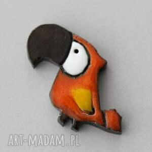 papla - broszka ceramiczna, papuga, minimalizm, design, kolor, urodziny, prezent
