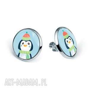 kolczyki sztyfty świąteczny pingwinek prezent pod choinkę na mikołaja, święta
