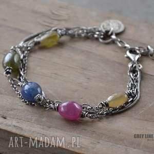 szafiry jak cukierki - bransoletka, srebro, szafiry, kolorowe, wielobarwne biżuteria