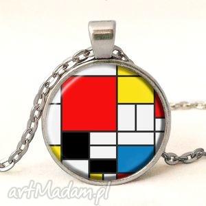 mondrian - medalion z łańcuszkiem, mondrian, prostokąty, kwadraty