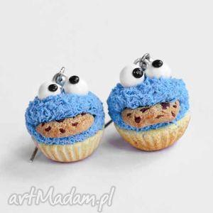 kolczyki ciasteczkowy potwór, ciasteczkowy, modelina, ciastko