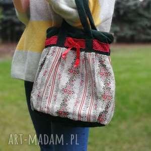 torebka damska retro koronka kokardka handmade , torebka, vintage, retro,