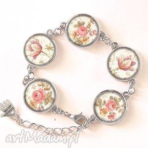 retro róże - bransoletka, kwiatowa, prezent, vintage