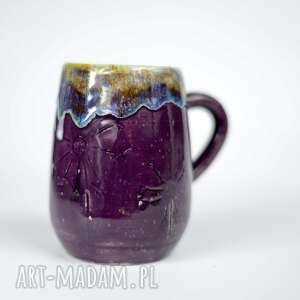 ceramika kubek duży kamionkowy - fioletowe 380 ml handmade, na prezent
