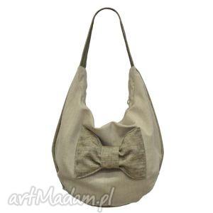hand-made torebki 20 -0001 beżowa torebka worek z efektowną kokardą finch