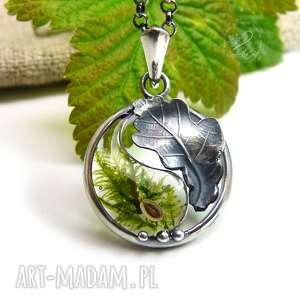 Yin Yang Mini Dębowy Liść, yin-yang, zen, natura, srebrny-liść, dębowy-liść,