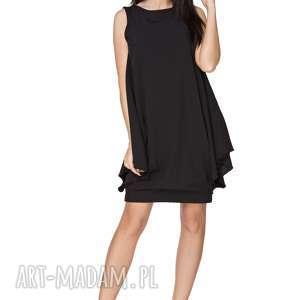 elegancka sukienka z fikuśnym dołem t227, czarny - sukienka, elegancka