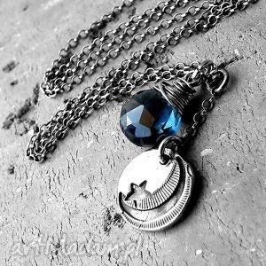 naszyjniki noc/srebro i kwarc granatowy - naszyjnik, księżyc, gwiazdka, srebrny