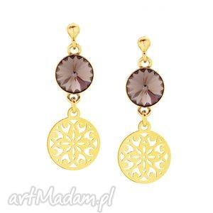 złote kolczyki z czekoladowymi kryształami swarovski® - pozłacane