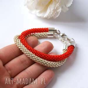 Silvery Red - zestaw koralikowych bransoletek, beading, beadcrochet, toho, srebro