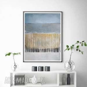 Abstrakcja w brązach i szarościach-obraz akrylowy formatu 50 70