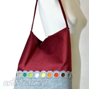 Bordowa Torba na ramię HOBO- z kolorowymi kropkami, filc, torba, torebka, pojemna