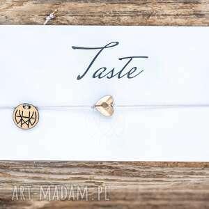 ręcznie zrobione bransoletki whw taste big gold heart on light grey string