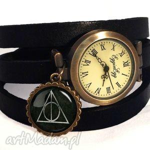 insygnia śmierci - zegarek bransoletka na skórzanym pasku, insygnia, śmierci, harry
