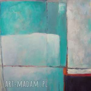 obraz na płótnie - abstrakcja w turkusach 30/40 cm, abstrakcja, biel, akryl