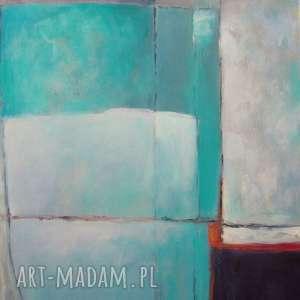 obraz na płótnie - abstrakcja w turkusach 30/40 cm, abstrakcja, biel, akryl, turkus