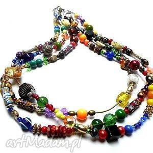 bajecznie kolorowy naszyjnik w stylu boho, niezwykle modny i efektowny hand made