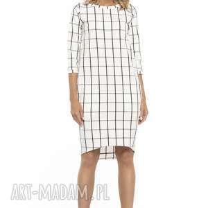 Sukienka o fasonie tuba z kieszeniami, T251, kratka, sukienka, fason, tuba, kieszenie