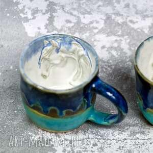 niebiesko-turkusowy kubek z koniem rękodzieło 250 ml, na prezent