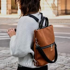 torebki plecak / torba 2 w 1 z nubuku tapicerskiego rudy brąz, torebka